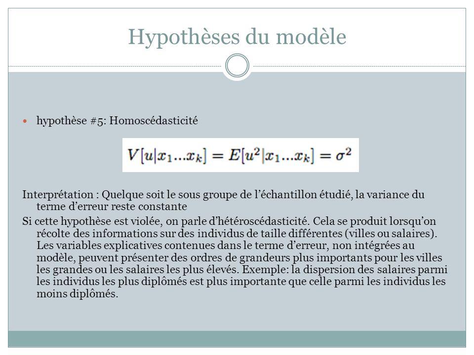 Hypothèses du modèle hypothèse #5: Homoscédasticité Interprétation : Quelque soit le sous groupe de l'échantillon étudié, la variance du terme d'erreur reste constante Si cette hypothèse est violée, on parle d'hétéroscédasticité.