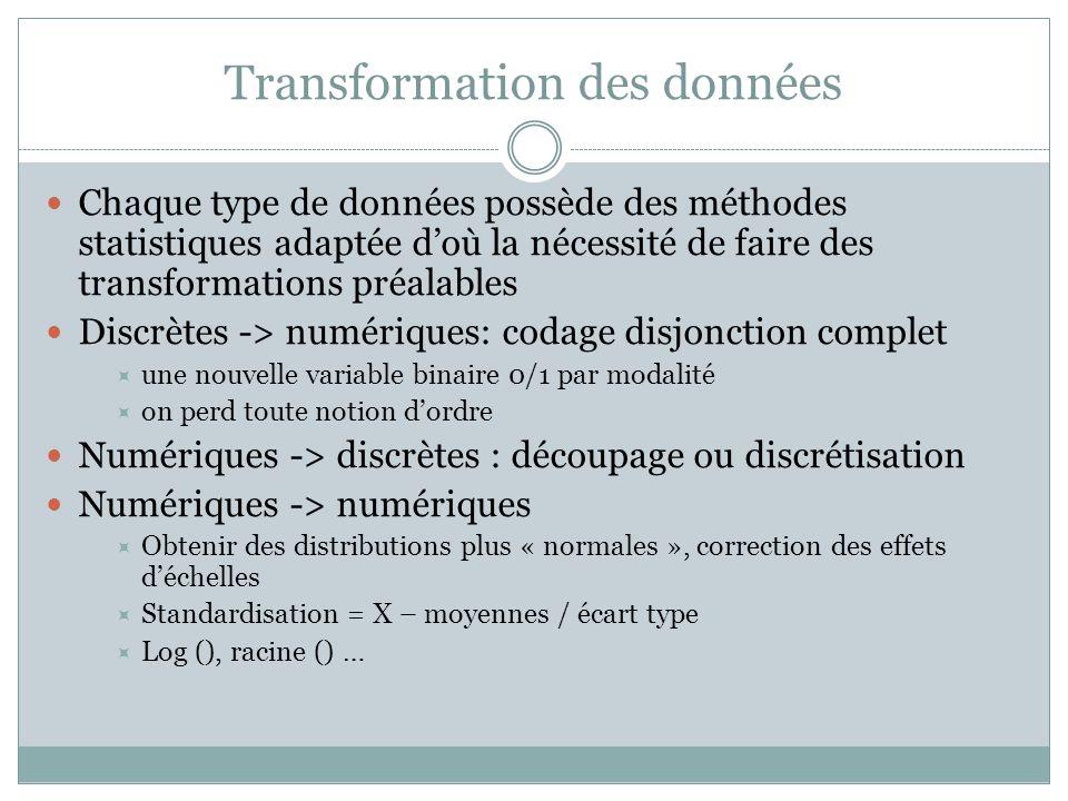 Transformation des données Chaque type de données possède des méthodes statistiques adaptée d'où la nécessité de faire des transformations préalables