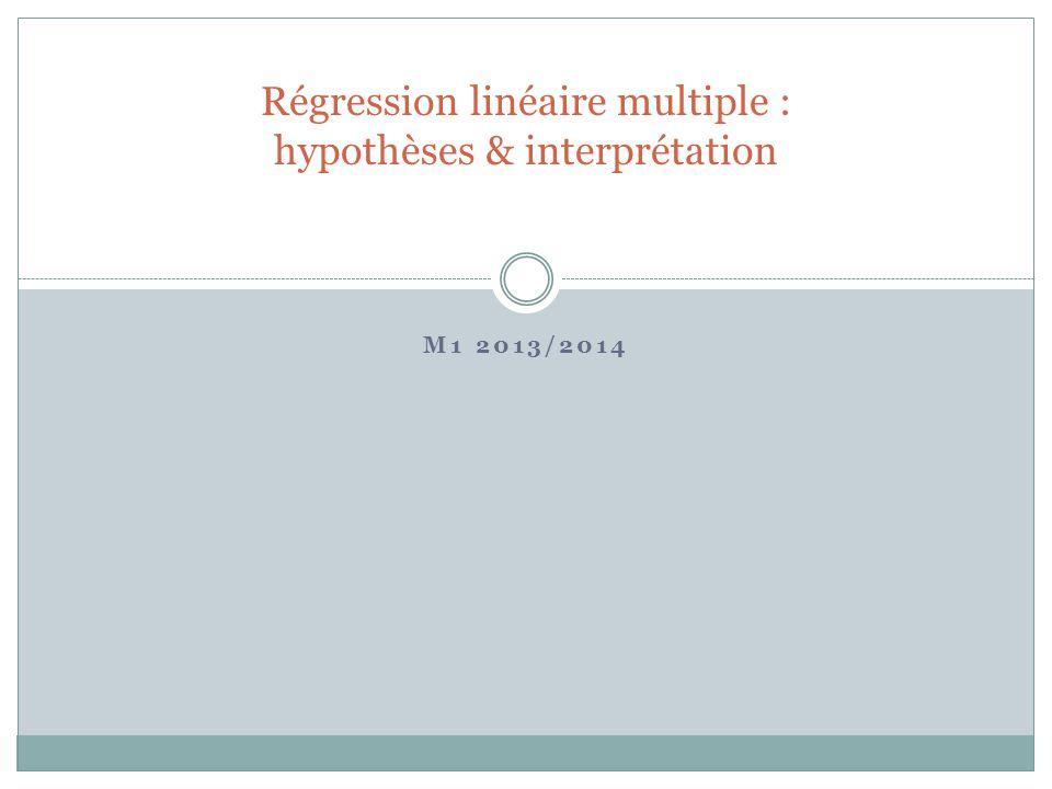Régression linéaire multiple Comparaison SLR / MLR Le terme d'erreur u représente tous les autres facteurs inobservés qui déterminent y Le terme d'erreur d'une SLR contient les variables explicatives d'une MLR.