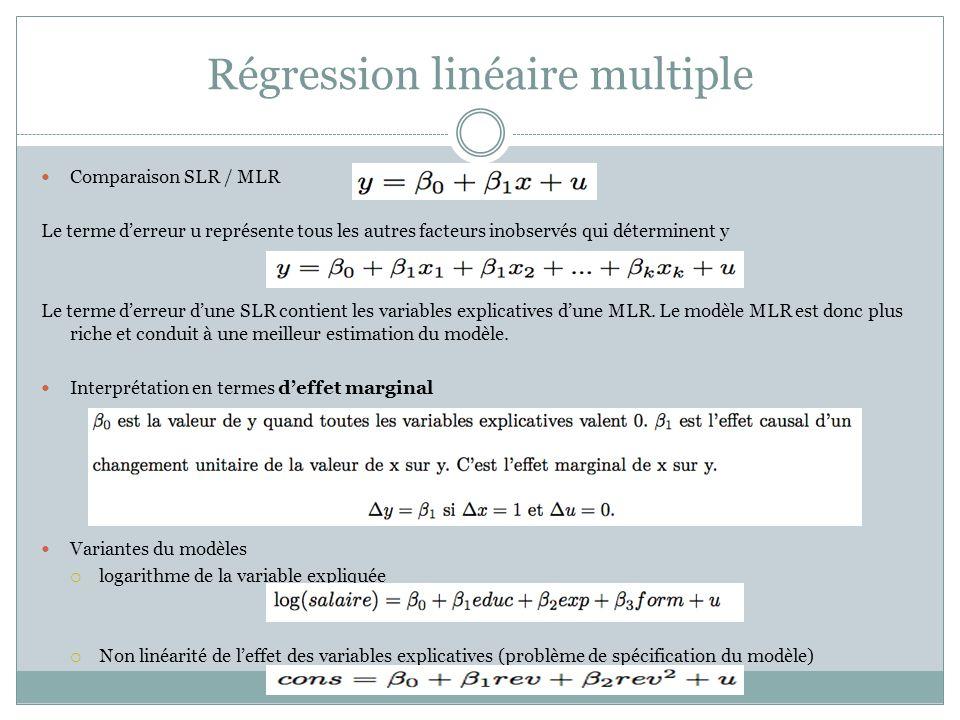 Régression linéaire multiple Comparaison SLR / MLR Le terme d'erreur u représente tous les autres facteurs inobservés qui déterminent y Le terme d'err