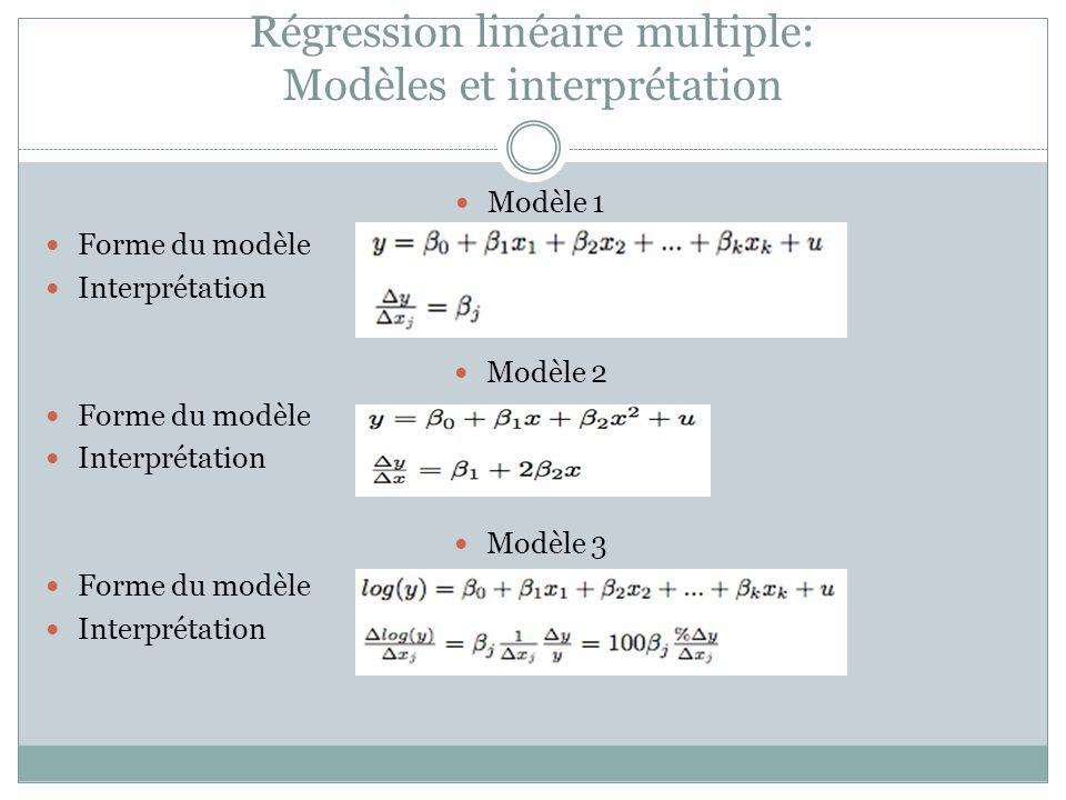 Régression linéaire multiple: Modèles et interprétation Modèle 1 Forme du modèle Interprétation Modèle 2 Forme du modèle Interprétation Modèle 3 Forme