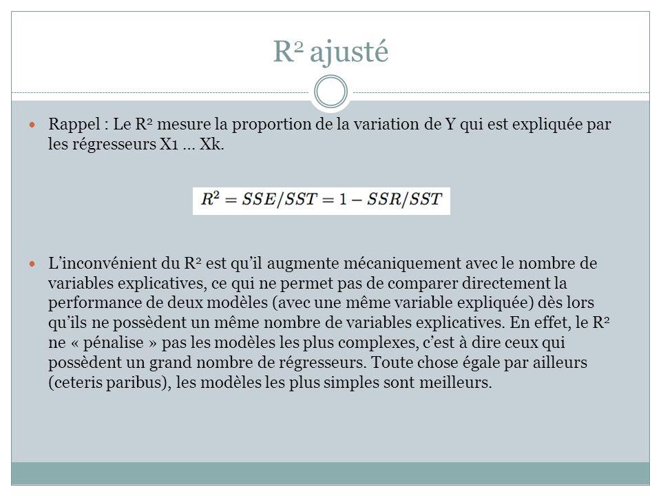 R 2 ajusté Rappel : Le R 2 mesure la proportion de la variation de Y qui est expliquée par les régresseurs X1 … Xk. L'inconvénient du R 2 est qu'il au