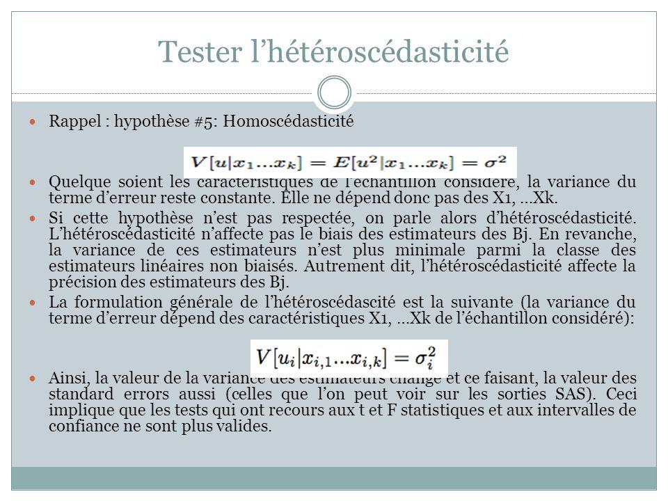 Tester l'hétéroscédasticité Rappel : hypothèse #5: Homoscédasticité Quelque soient les caractéristiques de l'échantillon considéré, la variance du ter