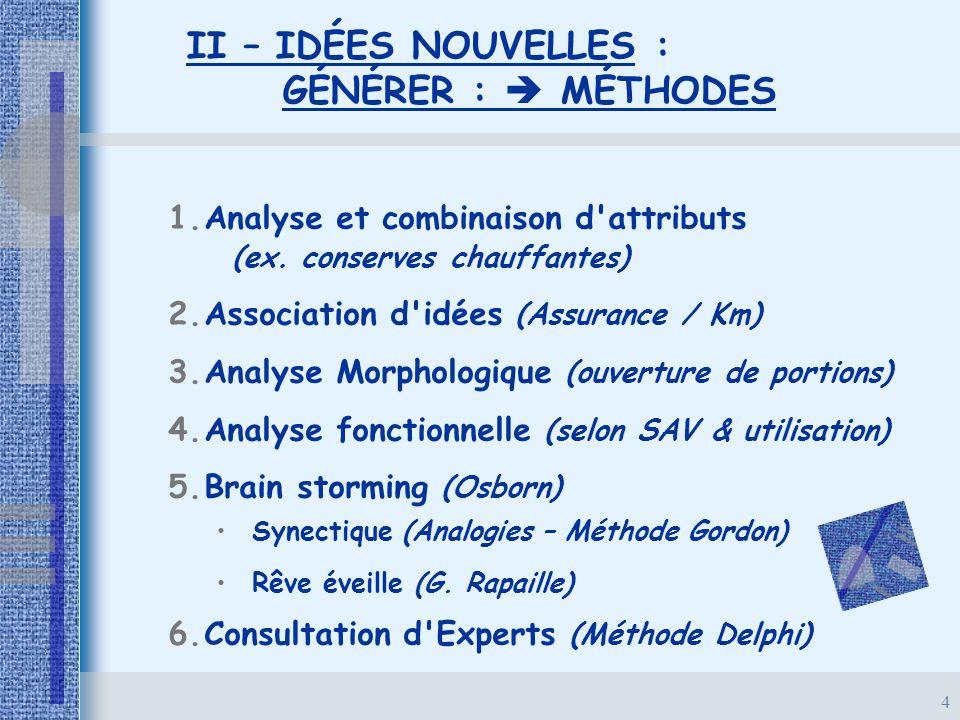 4 II – IDÉES NOUVELLES : GÉNÉRER :  MÉTHODES 1. 1.Analyse et combinaison d'attributs (ex. conserves chauffantes) 2. 2.Association d'idées (Assurance