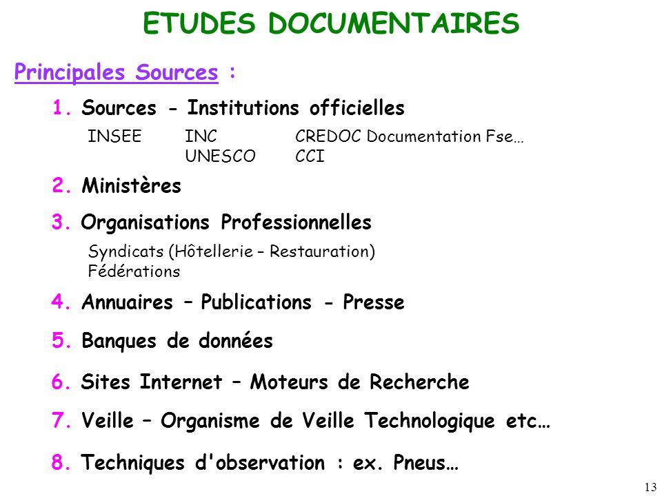 13 ETUDES DOCUMENTAIRES Principales Sources : 1. Sources - Institutions officielles INSEEINCCREDOC Documentation Fse… UNESCOCCI 2. Ministères 3. Organ