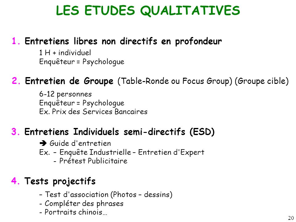 20 LES ETUDES QUALITATIVES 1.