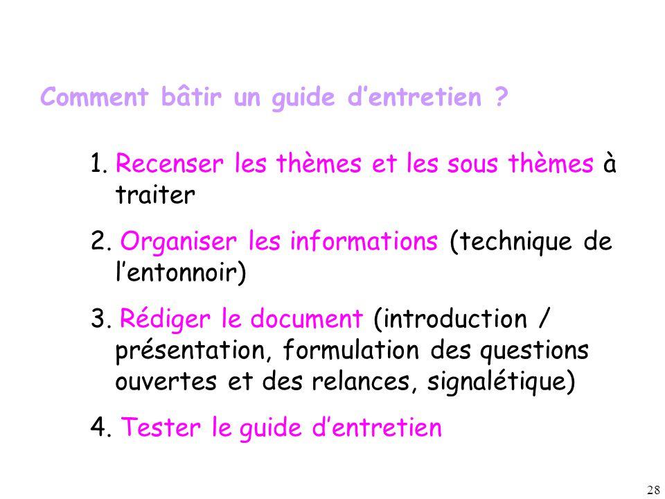 28 1. Recenser les thèmes et les sous thèmes à traiter 2. Organiser les informations (technique de l'entonnoir) 3. Rédiger le document (introduction /