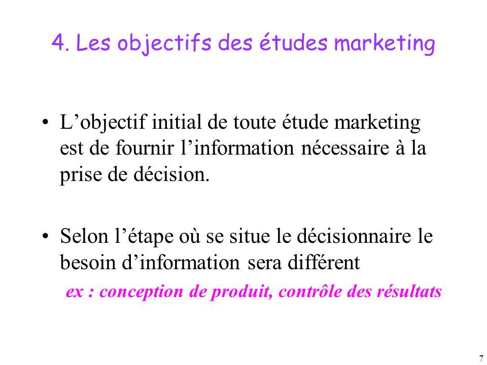 7 4. Les objectifs des études marketing L'objectif initial de toute étude marketing est de fournir l'information nécessaire à la prise de décision. Se