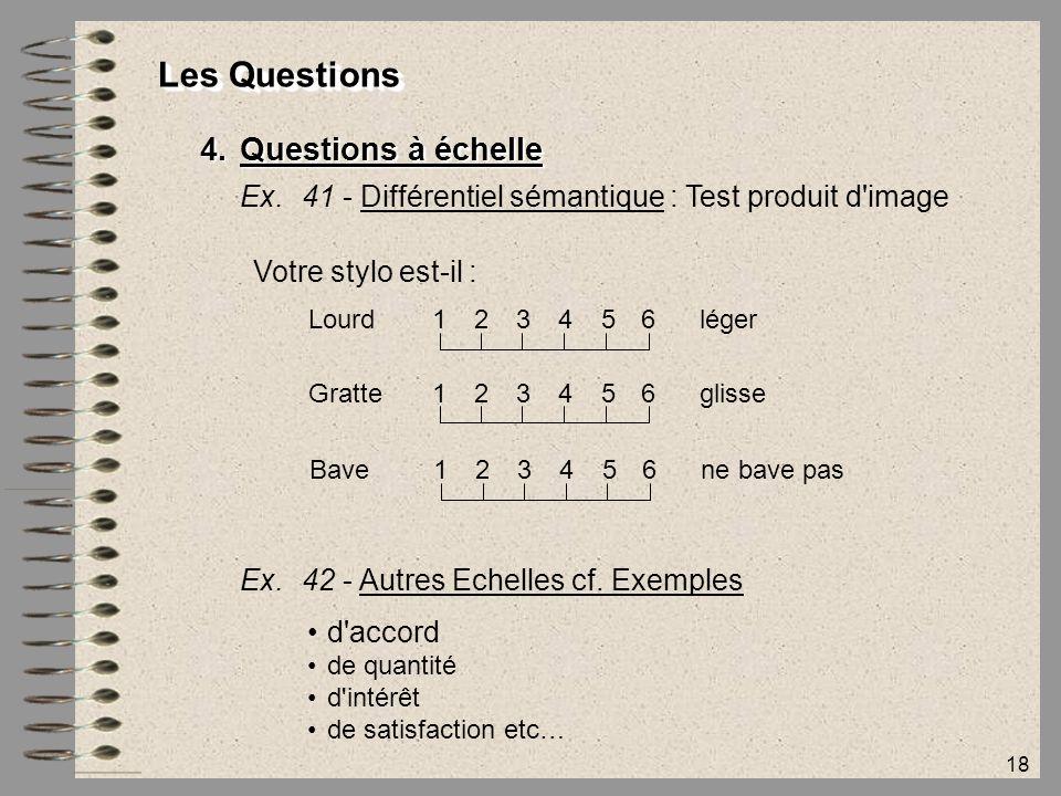 18 Les Questions 4.Questions à échelle Ex.41 - Différentiel sémantique : Test produit d'image Votre stylo est-il : Lourd123456 léger Gratte123456 glis