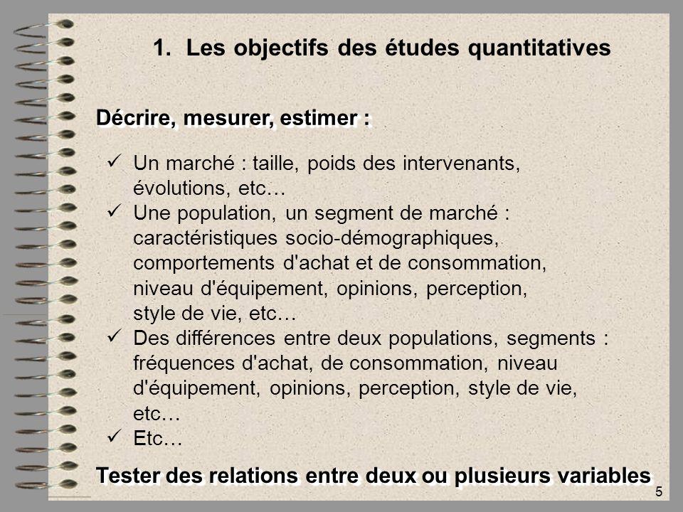 5 1.Les objectifs des études quantitatives Décrire, mesurer, estimer : Un marché : taille, poids des intervenants, évolutions, etc… Une population, un