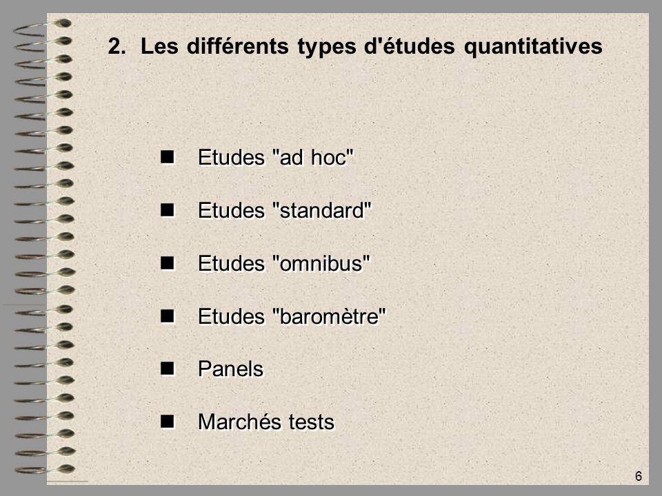 6 2.Les différents types d'études quantitatives Etudes