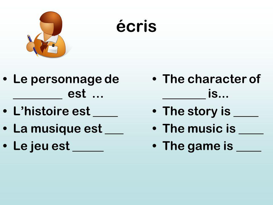 écris Le personnage de ________ est … L'histoire est ____ La musique est ___ Le jeu est _____ The character of _______ is...