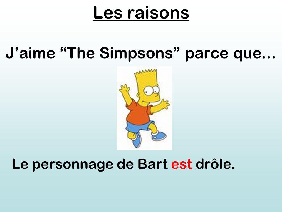 Les raisons J'aime The Simpsons parce que... Le personnage de Bart est drôle.