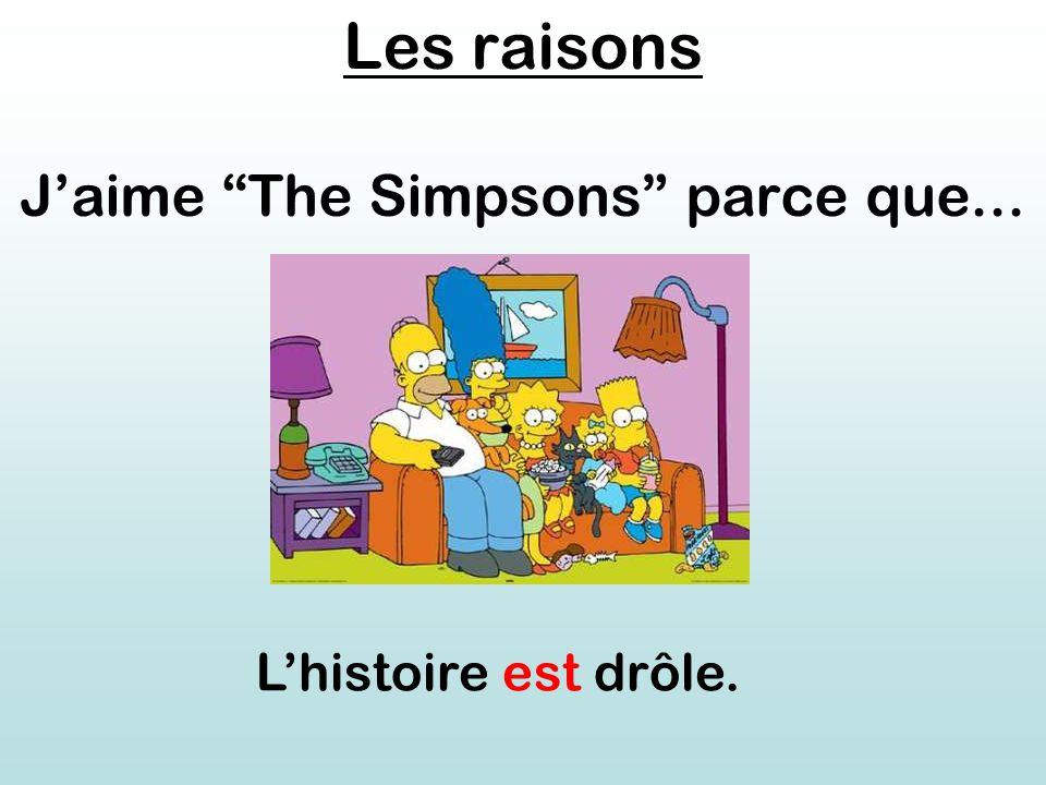 Les raisons J'aime The Simpsons parce que... L'histoire est drôle.