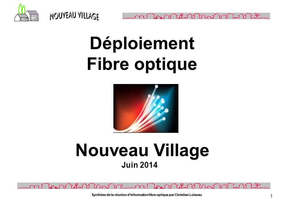 Synthèse de la réunion d'information fibre optique par Christian Loiseau 1 Nouveau Village Juin 2014 Déploiement Fibre optique