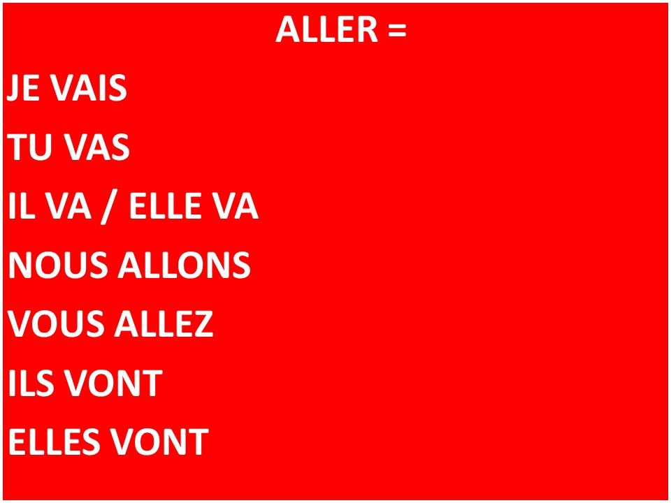 REMEMBER: IN FRENCH, THE SPELLING OF VERBS (DOING WORDS) OFTEN CHANGE DEPENDING ON WHO IS DOING THE ACTION JE.................VAIS BUT NOUS...........