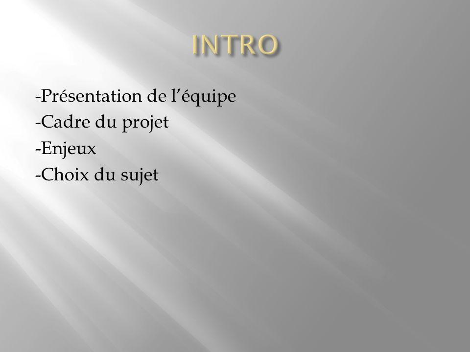 -Présentation de l'équipe -Cadre du projet -Enjeux -Choix du sujet