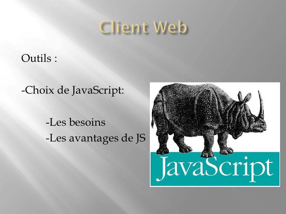 Outils : -Choix de JavaScript: -Les besoins -Les avantages de JS