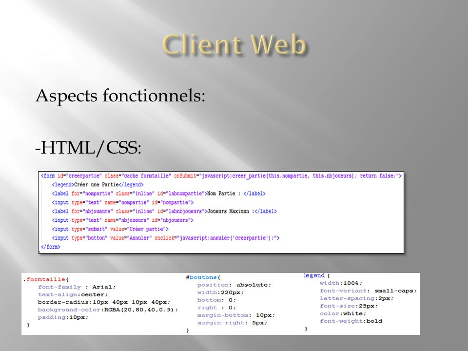 Aspects fonctionnels: -L'applet Java: -Gestion des sockets -Communication entre Java et JavaScript