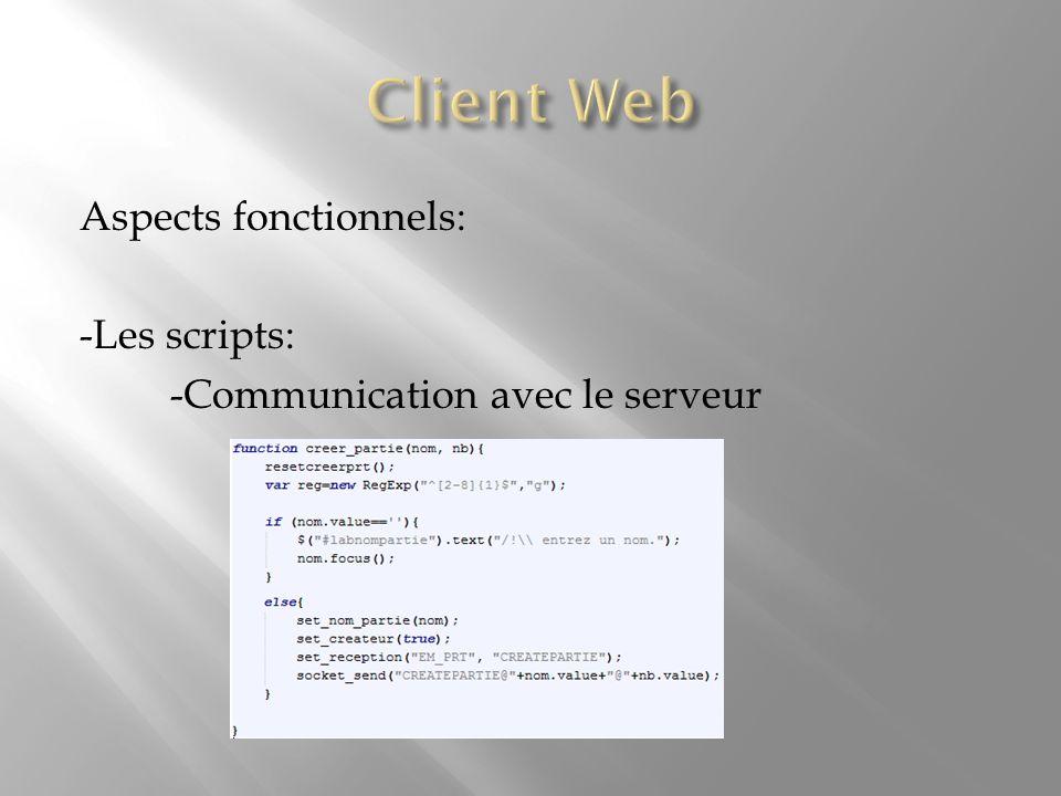 Aspects fonctionnels: -Les scripts: -Communication avec le serveur