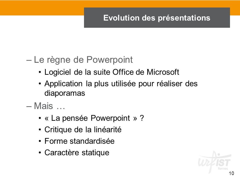 10 –Le règne de Powerpoint Logiciel de la suite Office de Microsoft Application la plus utilisée pour réaliser des diaporamas –Mais … « La pensée Powe