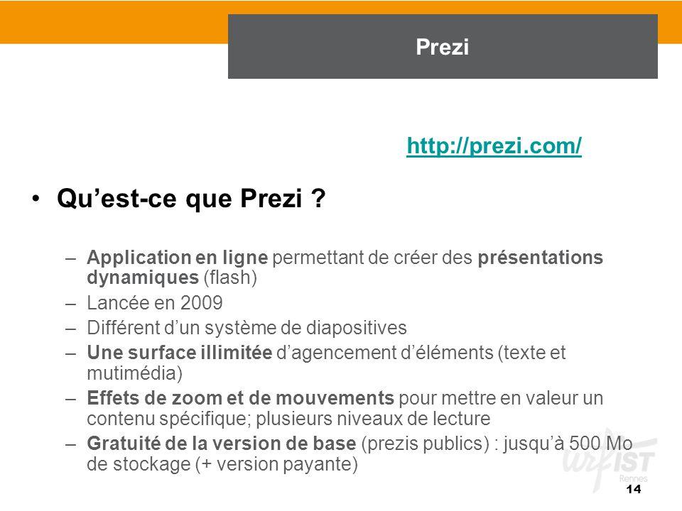 Qu'est-ce que Prezi ? –Application en ligne permettant de créer des présentations dynamiques (flash) –Lancée en 2009 –Différent d'un système de diapos