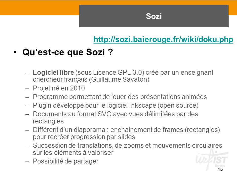 Qu'est-ce que Sozi ? –Logiciel libre (sous Licence GPL 3.0) créé par un enseignant chercheur français (Guillaume Savaton) –Projet né en 2010 –Programm