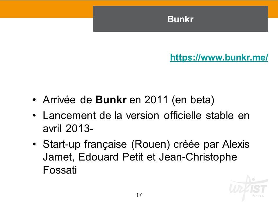 Arrivée de Bunkr en 2011 (en beta) Lancement de la version officielle stable en avril 2013- Start-up française (Rouen) créée par Alexis Jamet, Edouard
