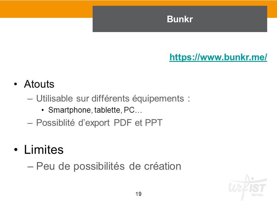 Atouts –Utilisable sur différents équipements : Smartphone, tablette, PC… –Possiblité d'export PDF et PPT Limites –Peu de possibilités de création 19