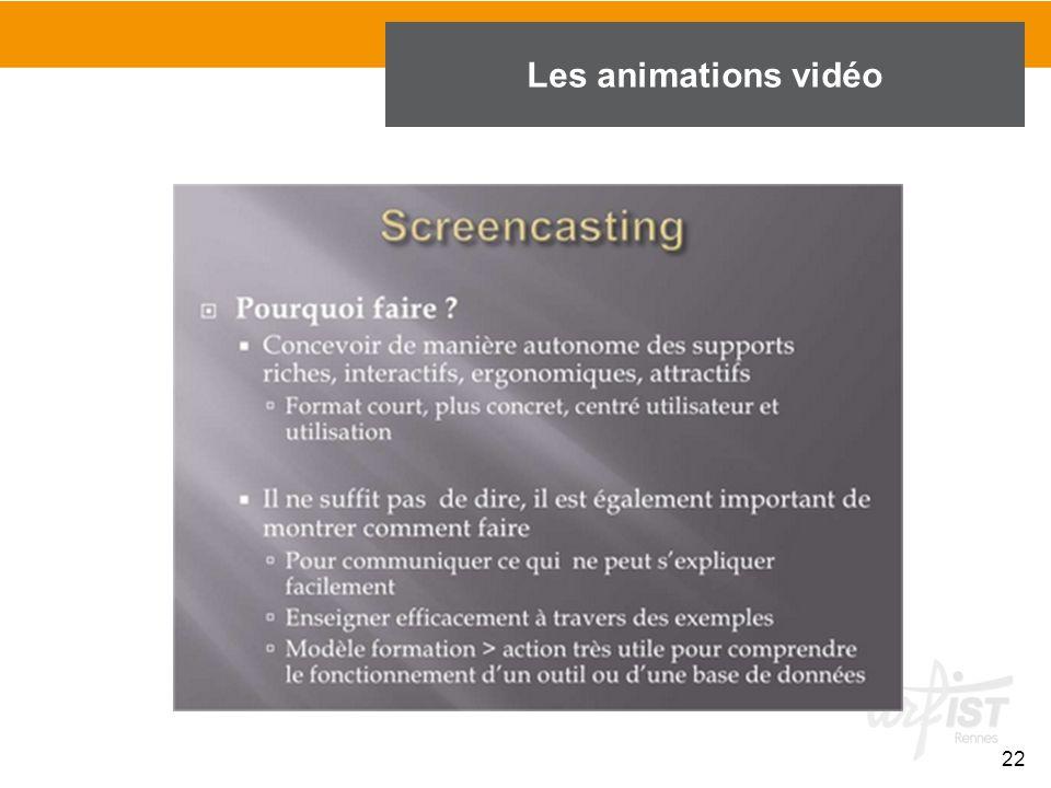 22 Les animations vidéo