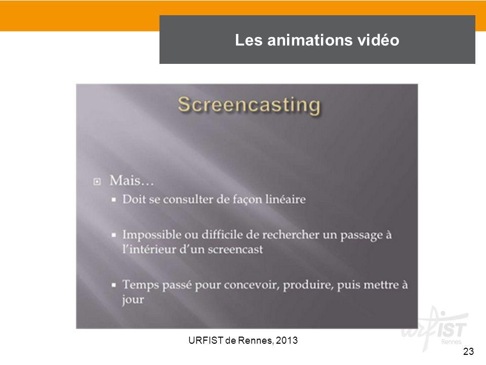 23 URFIST de Rennes, 2013 Les animations vidéo