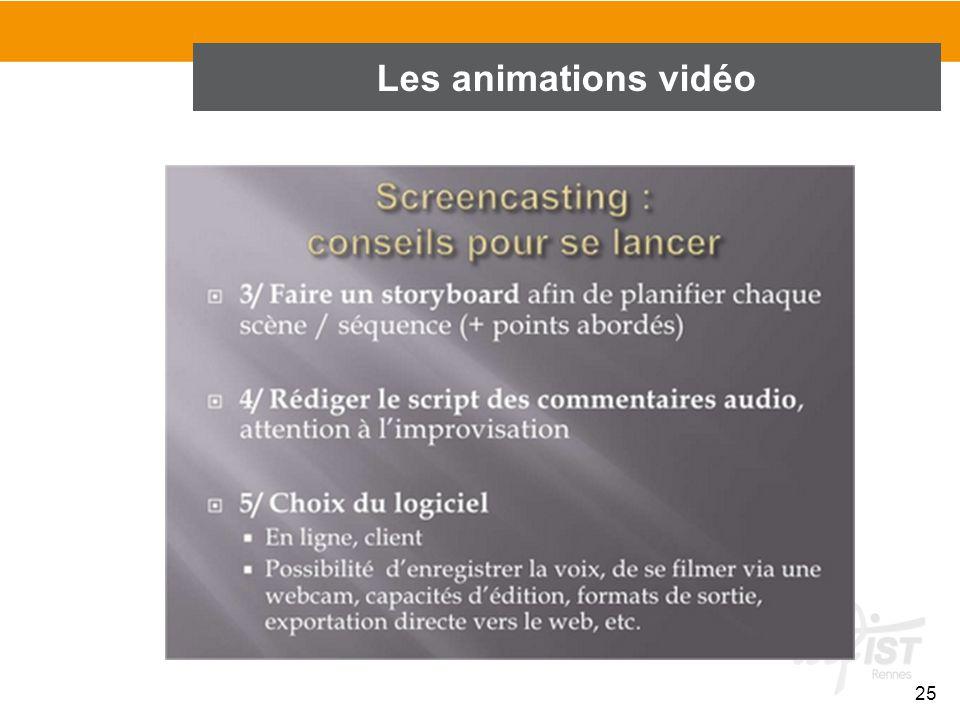 25 Les animations vidéo