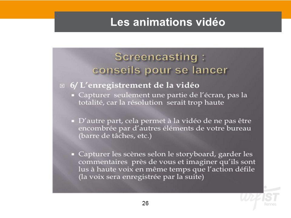 26 Les animations vidéo