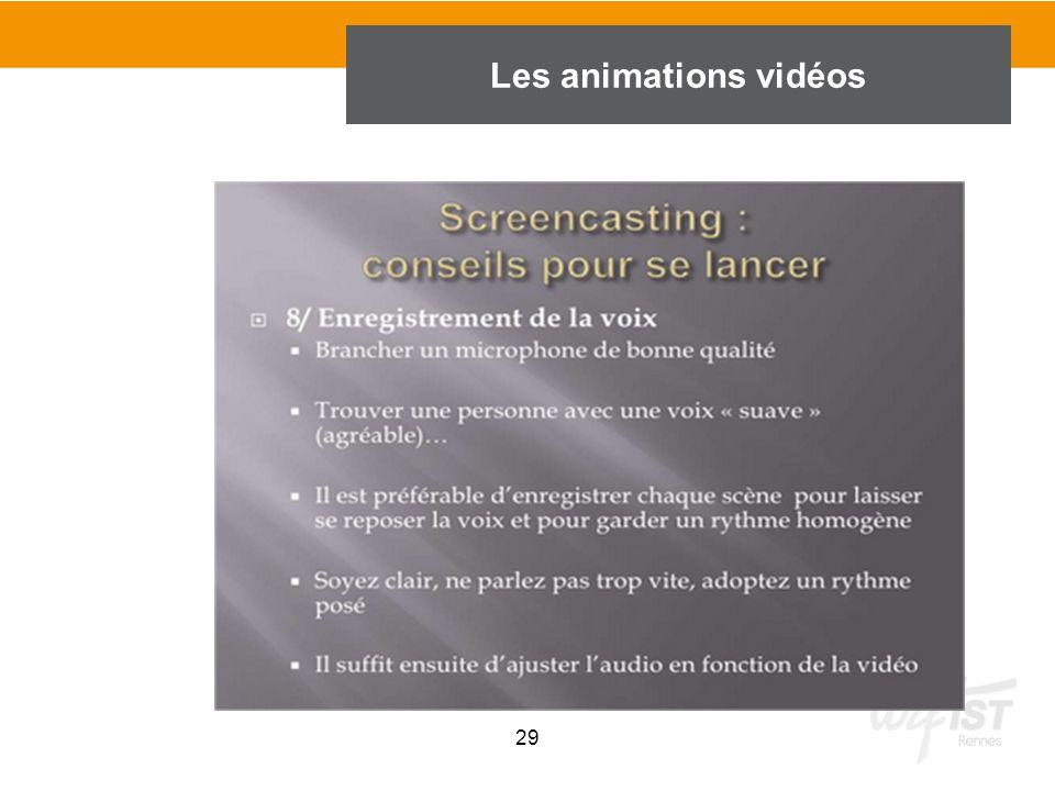 29 Les animations vidéos