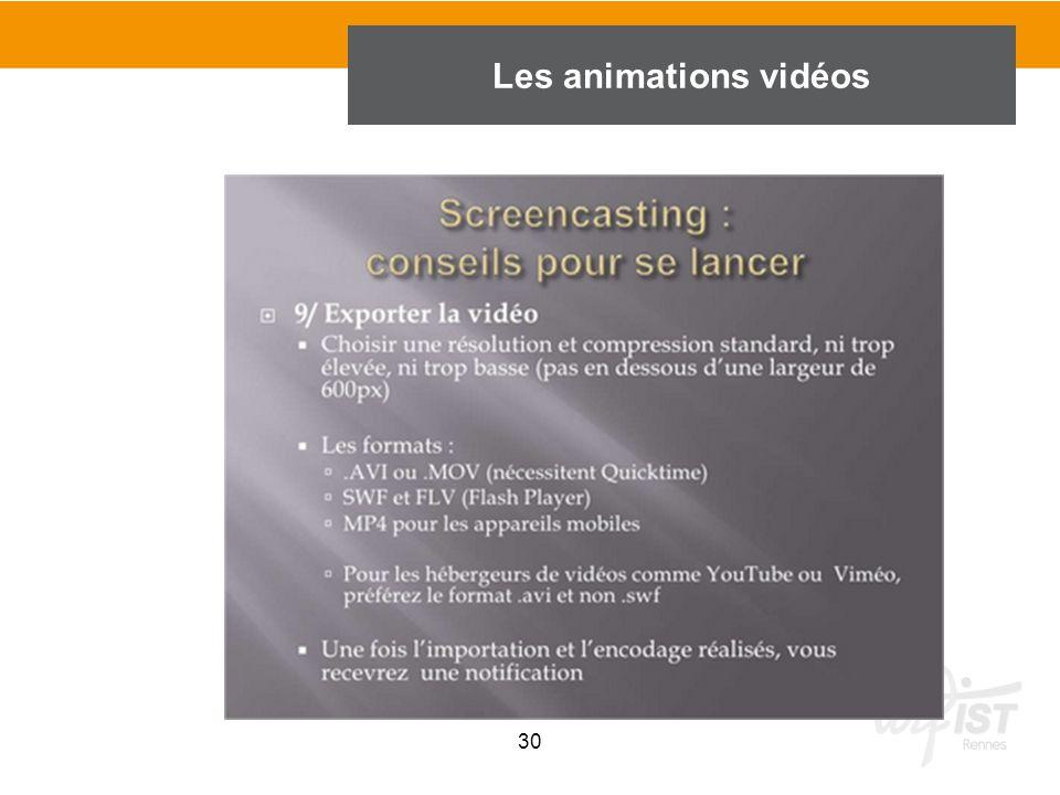 30 Les animations vidéos