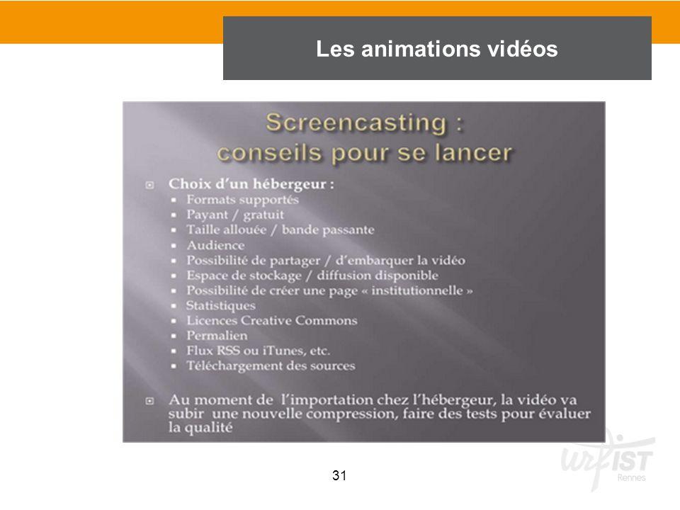 31 Les animations vidéos
