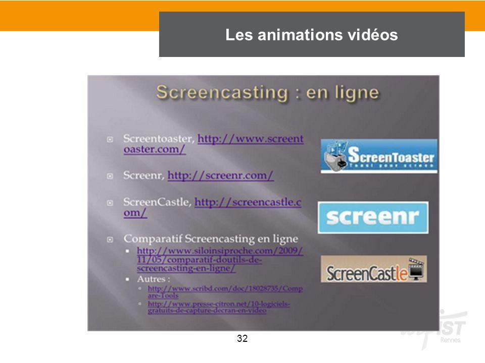 32 Les animations vidéos