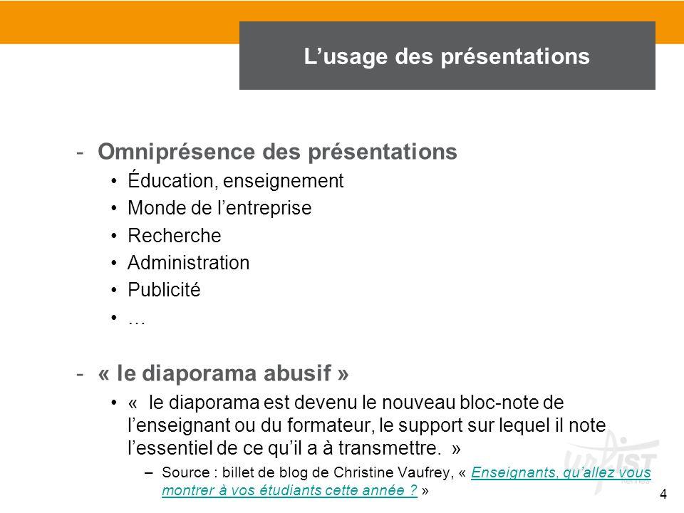 4 -Omniprésence des présentations Éducation, enseignement Monde de l'entreprise Recherche Administration Publicité … -« le diaporama abusif » « le dia