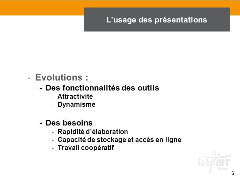 5 -Evolutions : -Des fonctionnalités des outils -Attractivité -Dynamisme -Des besoins -Rapidité d'élaboration -Capacité de stockage et accès en ligne