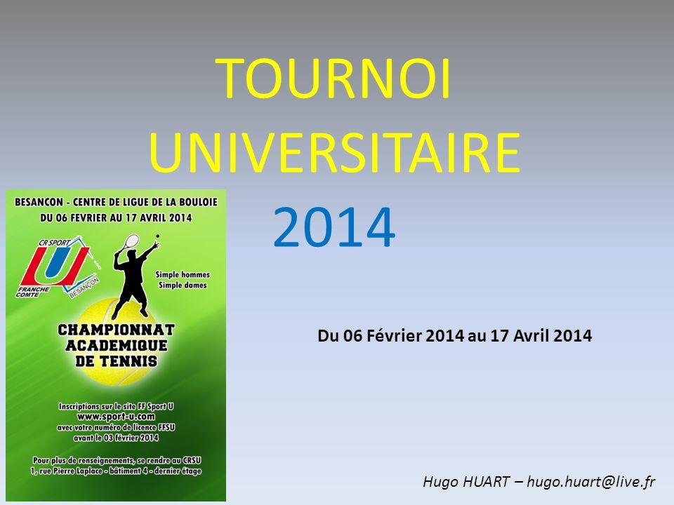 TOURNOI UNIVERSITAIRE 2014 Du 06 Février 2014 au 17 Avril 2014 Hugo HUART – hugo.huart@live.fr