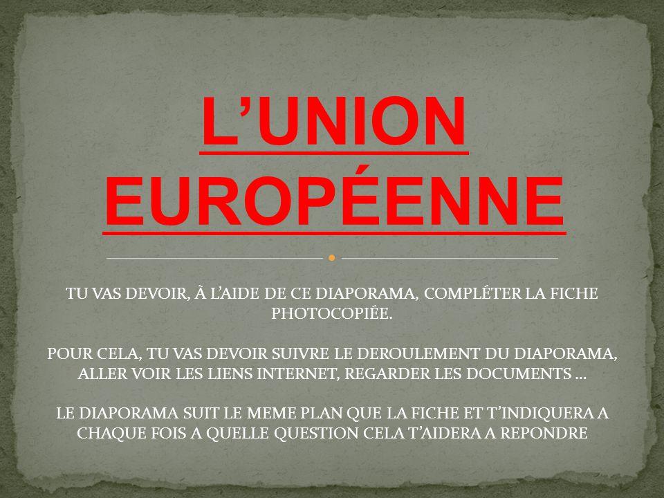 L'UNION EUROPÉENNE TU VAS DEVOIR, À L'AIDE DE CE DIAPORAMA, COMPLÉTER LA FICHE PHOTOCOPIÉE. POUR CELA, TU VAS DEVOIR SUIVRE LE DEROULEMENT DU DIAPORAM