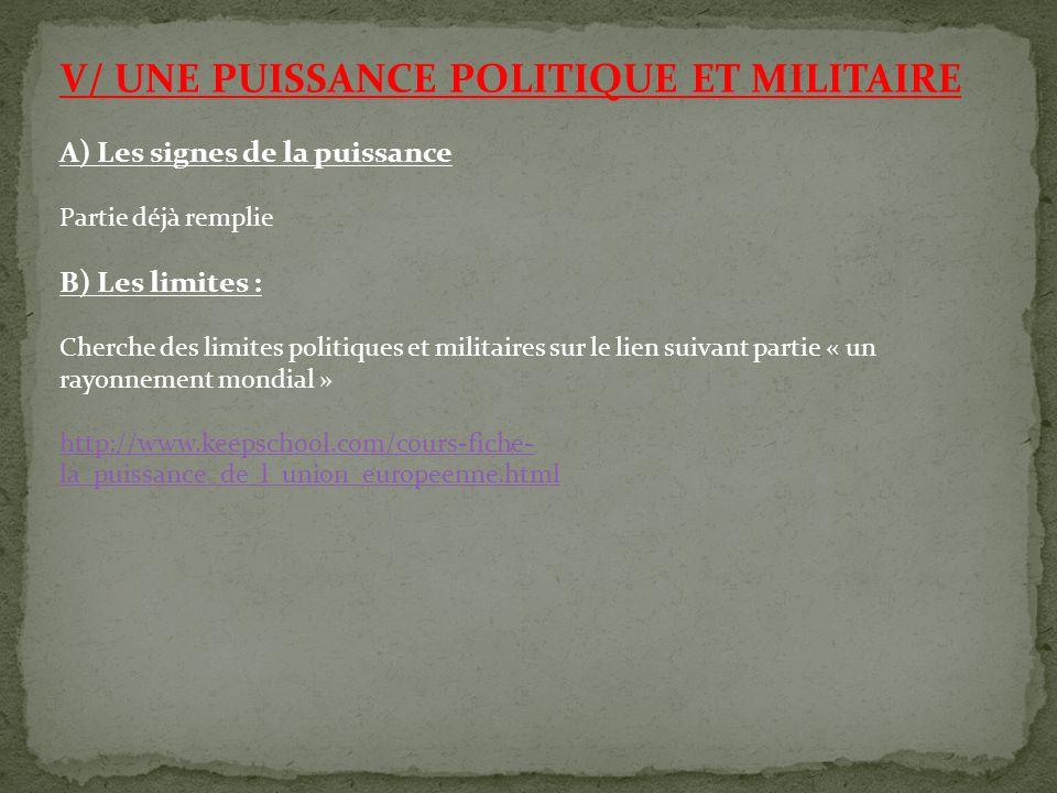 V/ UNE PUISSANCE POLITIQUE ET MILITAIRE A) Les signes de la puissance Partie déjà remplie B) Les limites : Cherche des limites politiques et militaire