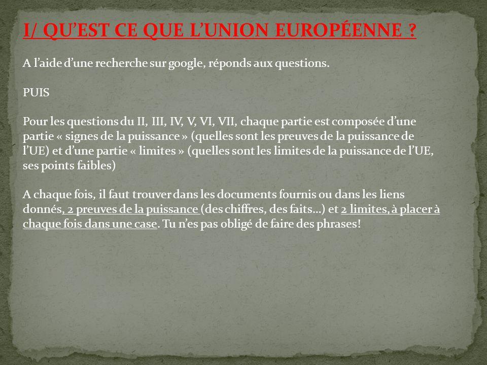 I/ QU'EST CE QUE L'UNION EUROPÉENNE ? A l'aide d'une recherche sur google, réponds aux questions. PUIS Pour les questions du II, III, IV, V, VI, VII,