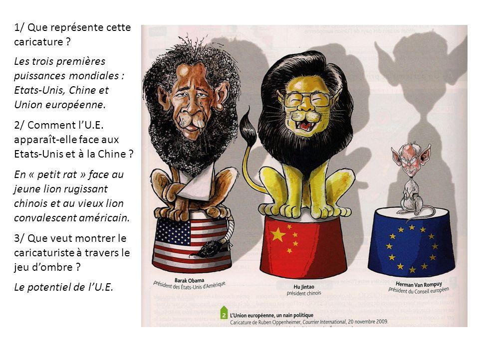 1/ Que représente cette caricature ? Les trois premières puissances mondiales : Etats-Unis, Chine et Union européenne. 2/ Comment l'U.E. apparaît-elle