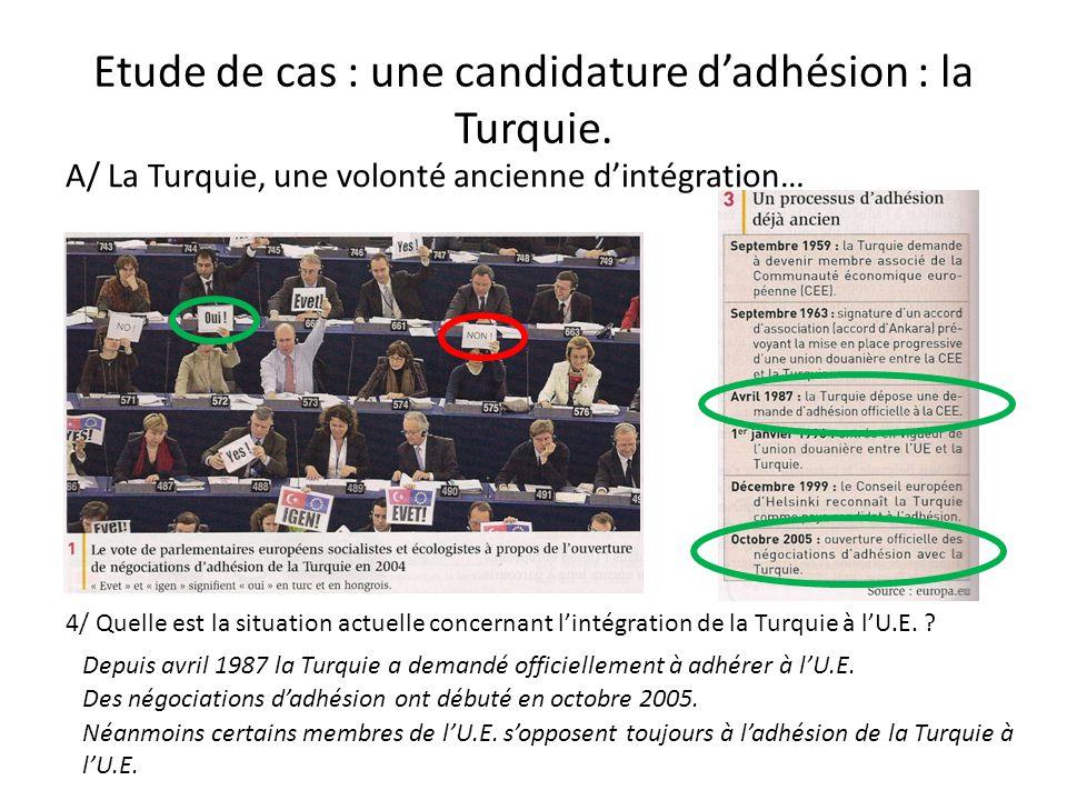 Etude de cas : une candidature d'adhésion : la Turquie. A/ La Turquie, une volonté ancienne d'intégration… 4/ Quelle est la situation actuelle concern