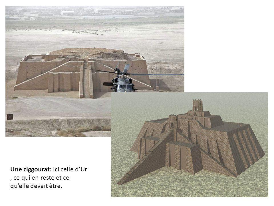 Une ziggourat: ici celle d'Ur, ce qui en reste et ce qu'elle devait être.