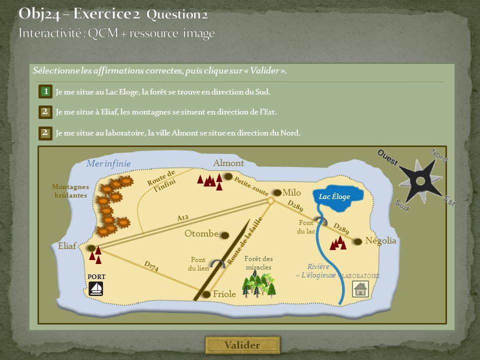 Sélectionne les affirmations correctes, puis clique sur « Valider ». Négolia Friole Mer infinie Lac Éloge Rivière « L'élogieuse » A12 D174 D289 Route