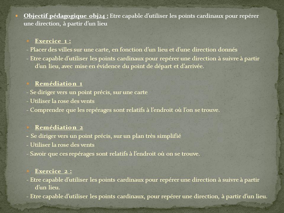 Objectif pédagogique obj24 : Etre capable d'utiliser les points cardinaux pour repérer une direction, à partir d'un lieu Exercice 1 : - Placer des vil