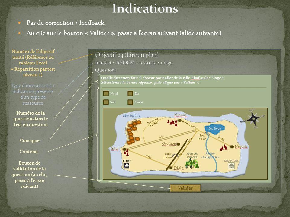 Pas de correction / feedback Au clic sur le bouton « Valider », passe à l'écran suivant (slide suivante) Numéro de l'objectif traité (Référence au tab