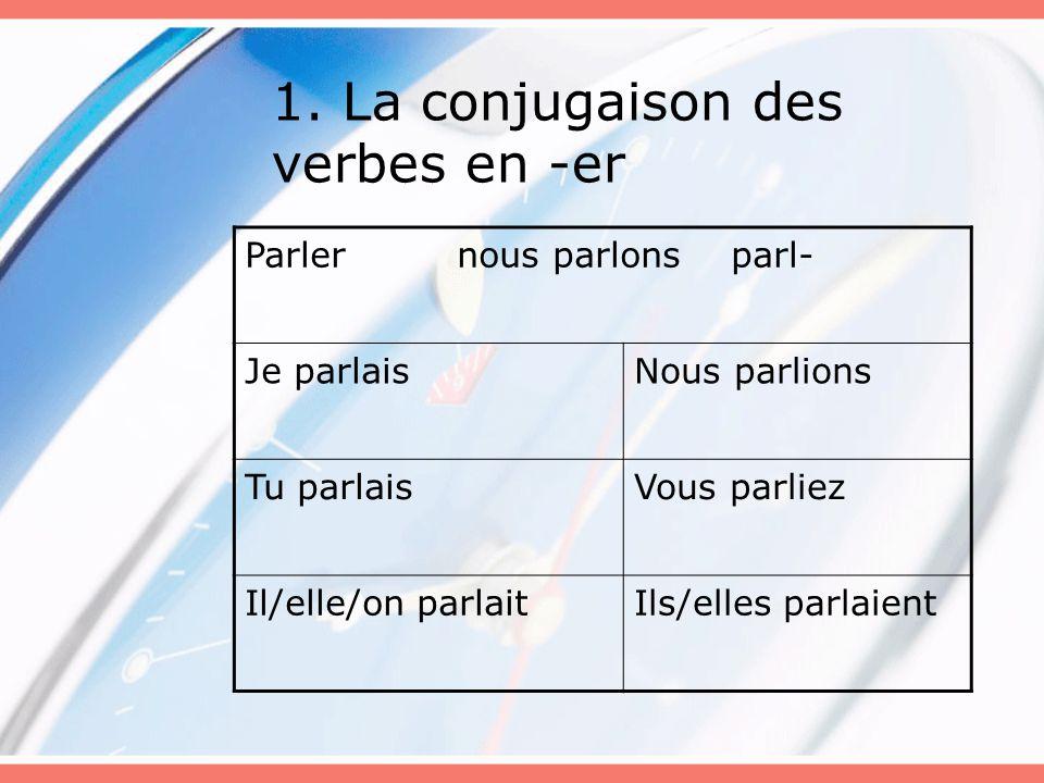 1. La conjugaison des verbes en -er Parler nous parlons parl- Je parlaisNous parlions Tu parlaisVous parliez Il/elle/on parlaitIls/elles parlaient